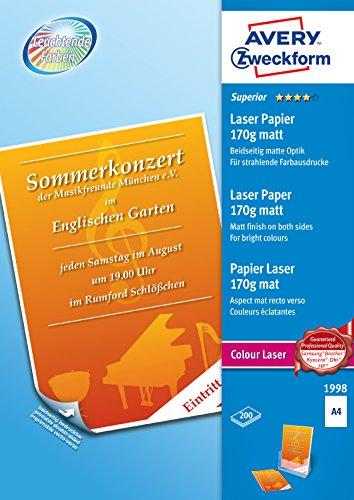 Avery Zweckform 1998 Superior Colour Laser Papier, DIN A4, beidseitig beschichtet - matt, 170 g/m², 200 Blatt