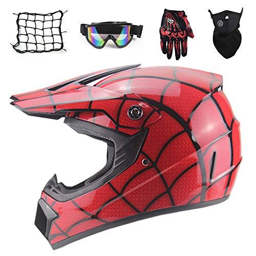 Red/Spider - Full Face MTB Helmet Set, Pit Bike Motocross Helmet Kids Off Road Helmet Motorcycle Crash Helmet for Downhill Enduro MX Quad Dirt Bike with Goggles Mask Gloves Helmet Net (L)