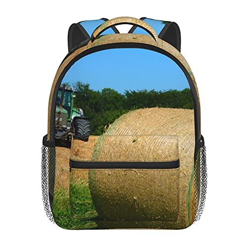 RTUBNSD Kinderrucksack Gras Heu Traktor Farm, Kindergarten Vorschul Tasche Schultasche für Kleinkinder Mädchen Jungen
