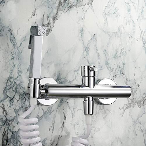 Pistola rociadora de alta presión con asiento colgante, kit de ducha de mano bidé con válvula de ángulo de control dual caliente y frío de dos entradas y una salida-C2 para lavado femenino de l