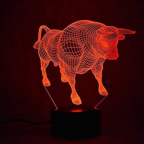 3D Ilusión Optica Toro Vaca Luz Nocturna 7 Colores Cambio de Botón Táctil USB de Suministro de Energía LED Lámpara de Mesa Lámpara Regalo de Cumpleaños Navidad