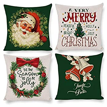 Elvoes Set of 4 Christmas Throw Pillow Covers Vintage Santa Claus Merry Christmas Winter Holiday Decoration Linen Xmas Pillowcase Cushion Case 18x18 Inch