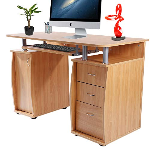Binrrio Home Office Computer Desk with Keyboard Tray, Classic Wooden Computer Desk with Movable CPU Holder, Laptop PC Table Writing Study Table Workstation with Storage Drawers & Cabinet