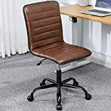 DICTAC Leather Home Office Desk Chairs Brown Office Chair armless...