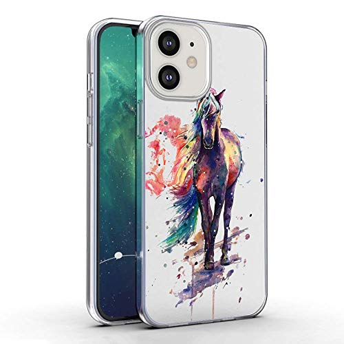 Slim Clear Watercolor Horse Tie dye Case for iPhone 12 Customized Design Soft TPU and Rubber Flexible Durable Shockproof Case Compatible with iPhone 12 Protective Case-Anti-Slippery