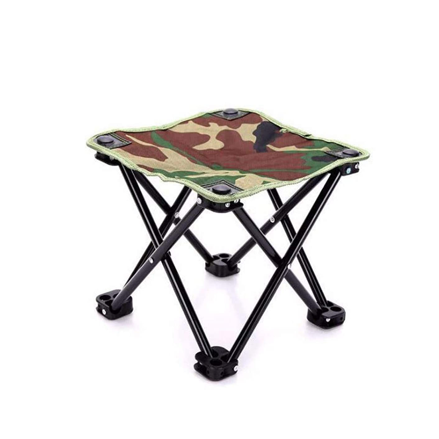 Folding Camping Stool, Mini Folding Stool Portable Chair for Beach, Picnic Party, Camping, Barbecue, Fishing, Hiking, 600D Oxford Cloth with Portable Bag,10.83''10.83''9.84''(Green Camouflage)