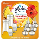 Glade PlugIns Refills Air Freshener Starter Kit, Scented Oil for Home and Bathroom, Hawaiian Breeze, 4.02 Fl Oz, 2 Warmers + 6 Refills