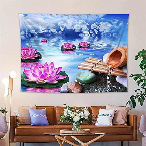 KHKJ Zen SPA Tapiz Floral Decoración para Colgar en la Pared Lotus Bamboo Stems Stones Jardín Paisaje Arte Paño de Pared Tapiz Mantas A3 200x150cm