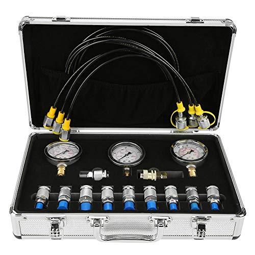 Akozon Kit de test de pression hydraulique pour excavatrice avec manomètre
