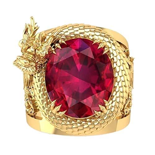 zhushuGG Creative Red Crystal Ring Dragon Pattern Ring Popular Unisex Rings Wedding Ring Jewelry Ring Jewelry Stacking Rings Party Ring Copper Ring