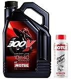 Motul Duo Olio Moto 300V Factory Line Road Racing 4T 10W-40, 4 Litri + Engine Clean 200ml