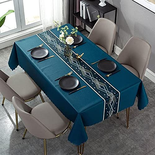 Mantel para Mesa PVC Rectangle, 140x220cmRayas Azules y Blancas Fácil de Limpiar, Antimanchas Impermeable, Plástico Home Manteles para Bodas Fiesta Buffet Navidad Cumpleaños Restaurante