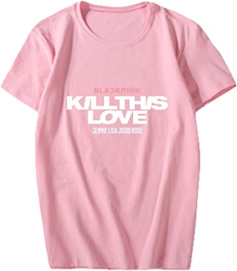 T-Shirt Unisexe Kpop Blackpink New Album Kill This Love Rose Lisa Jisoo Jennie Shirt Imprim/é Manches Courtes Lover T-Shirt Tees Chemisier Col Rond Tee Shirt Tops