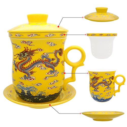 Tea Talent Porcelain Tea Cup with Infuser Lid and Saucer Sets - Chinese Jingdezhen Ceramics Coffee...