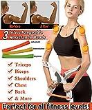 Roseate Elastique de Sport Musculation Elastique Fitness avec 3 Resistance Bande Appareil Machine d'entraînement pour Les Bras
