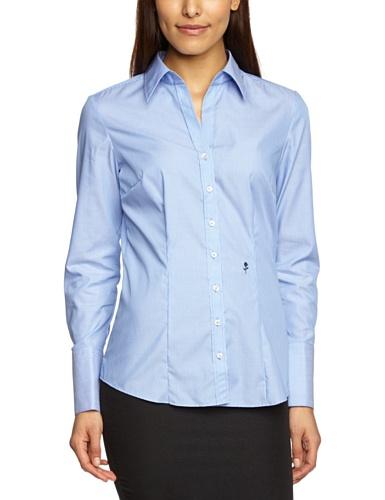 Seidensticker Damen Bluse – Bügelfreie, schmal taillierte Hemdbluse mit Hemdblusenkragen und Kragen-Ausschnitt – Langarm – 100% Baumwolle, Blau (11), 44
