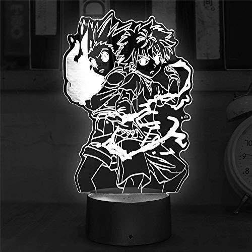 Luz nocturna 3D, lámpara de ilusiones con mando a distancia, 16 colores multicolores, con cambio USB, lámpara de mesa LED de mesa, decoración para niños, Navidad, Halloween, cumpleaños, cazador X