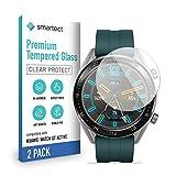 smartect Schutzglas kompatibel mit Huawei Watch GT Active [2 Stück] - Tempered Glass mit 9H Festigkeit - Blasenfreie Schutzfolie - Anti-Kratzer Bildschirmschutzfolie