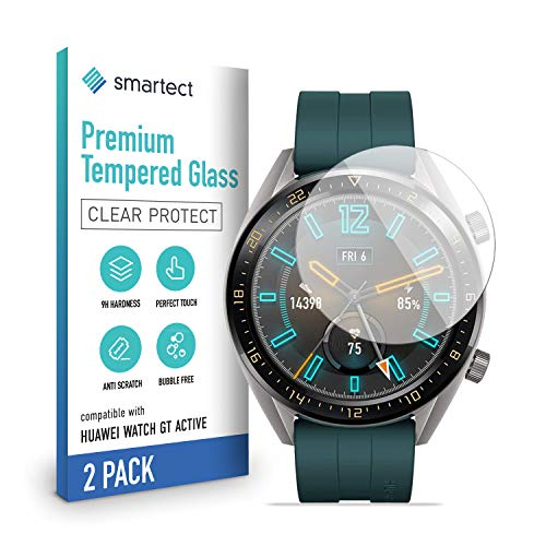 smartect Pellicola Protettiva per Huawei Watch GT Active [2 Pezzi] - 9H Vetro Temperato Proteggi Schermo - Design Ultra Sottile - Applicazione Anti-Bolle - Anti-Impronte