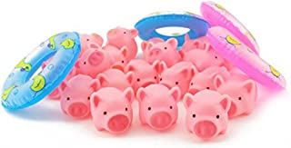 NUOLUX Rubber Pink Pig Baby Bath Toys with 4 Mini Swim Rings Fun Kids Bathtime Toys