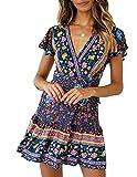 Abravo Mujer Vestido?Bohemio Corto Florales Nacional Verano Vestido Casual Magas Cortas Chic de Noche Playa Vacaciones,Azul Oscuro,S