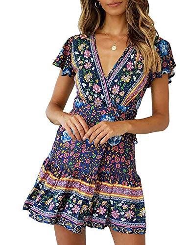 Abravo Mujer Vestido?Bohemio Corto Florales Nacional Verano Vestido Casual Magas Cortas Chic de Noche Playa Vacaciones,Azul Oscuro,M