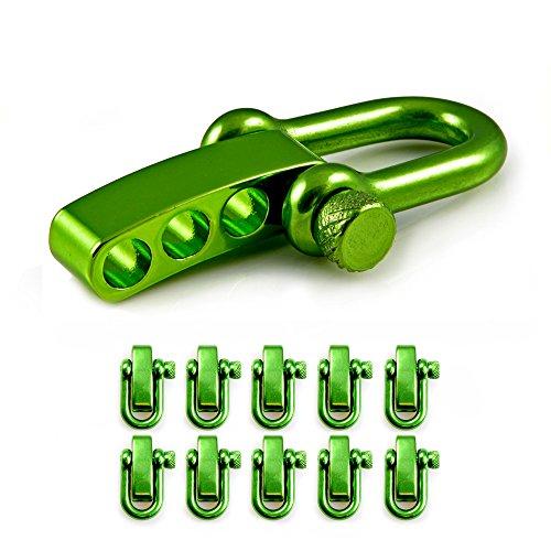 Manille droite réglable en acier avec un axe à visser simple à manier, manille en forme de U, manille ajustable, idéale avec les paracordes 550, confection de bracelets, grandeur: M, couleur: vert, de la marque Ganzoo – lot de 10 manilles