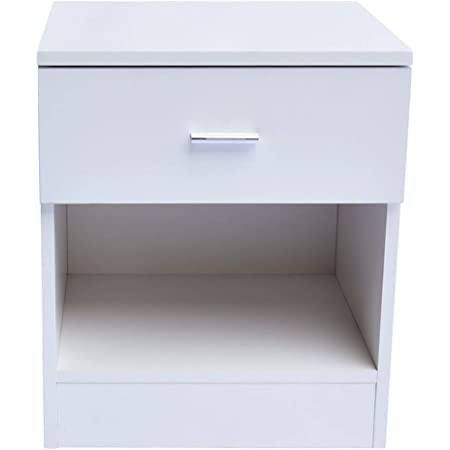 Simple Nightstand & Side Cabinet Bedside Table with 1 Drawer & Metal Handle White