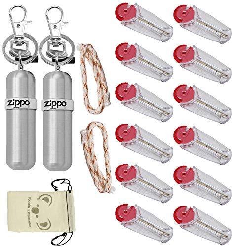 Zippo Lighter Fluid Fuel Storage Canister | 2pk Bundle + 2 Flint Dispensers (12 Flints) & 2 Wicks Replacement Set + Koala Pouch