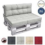 beautissu cuscino spalliera divano pallet eco elements 120x40x10-20cm - per divani con bancali di legno - grigio chiaro