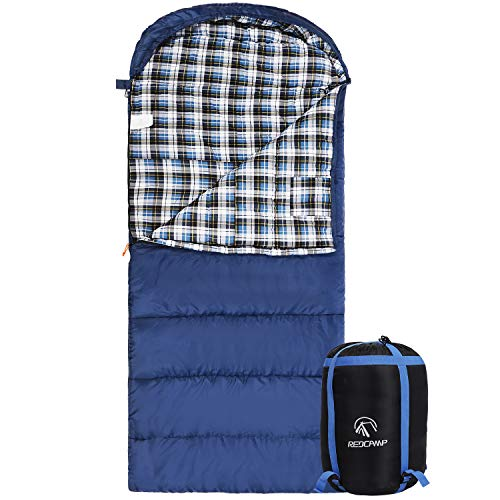 """REDCAMP Cotton Flannel Sleeping Bag for Adults, XL 32F Comfortable, Envelope with Compression Sack Blue 2lbs(95""""x35"""")"""