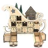 Jiaji Calendario de adviento tradicional de madera para Navidad, cuenta regresiva, decoración del hogar, calendario de Adviento grande, reutilizable, cajones de Navidad con luz LED