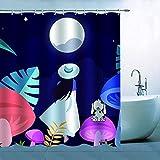 N\A Cortina de Ducha de Dibujos Animados para niña, decoración Brillante, Luna Llena, niña Mirando hacia el Cielo Nocturno, Hojas de Perro, Setas, poliéster Impermeable