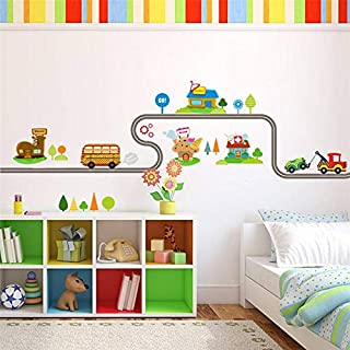 30 X 90CM Cartoon Cars Highway Track Wall Stickers For Kids Rooms Sticker Children's Play Room Bedroom Decor Wall Art Deca...