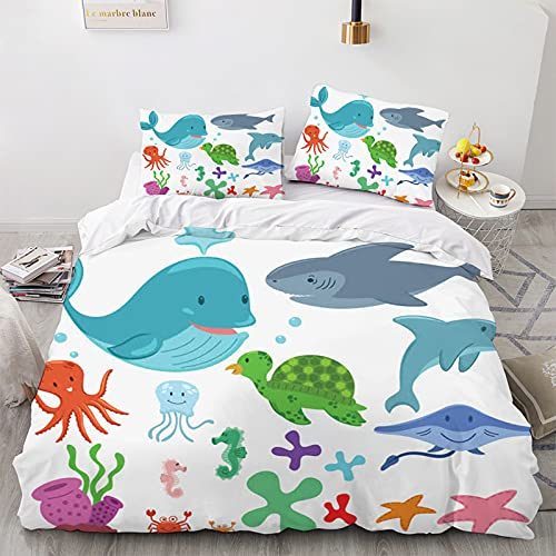 Funda nórdica infantil de 135 x 200 cm, diseño océano, microfibra, ropa de cama para animales marinos, color blanco, tamaño completo (pescado 3, 135 x 200 cm + 50 x 75 cm x 2)