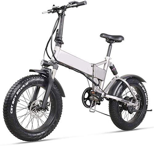 Bicicletas Eléctricas, Bicicleta eléctrica plegable Ciudad de la ciudad Ebike de 20 pulgadas 500W 48V 12.8AH Bicicleta eléctrica de litio Bicicleta de montaña plegable con asiento trasero y freno de d