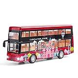 fangzhuo Vehículo de construcción 1:50 Coche De Juguete para Niños Puerta Abierta Acústica Óptica Autobús Turístico Modelo De Aleación Turismo De Lujo Autobús Turístico De Dos Pisos Regalo para Niños