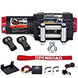 OPENROAD 3000Lbs 12 Volts Electric Winch, Winch for ATV/UTV/Boat, 3000Lbs /1360Kg Electric Winch Kit, with 12m/39ft Winch Cable, Towing Off-Road Electric Winch Recovery kit (3000Lbs Black)