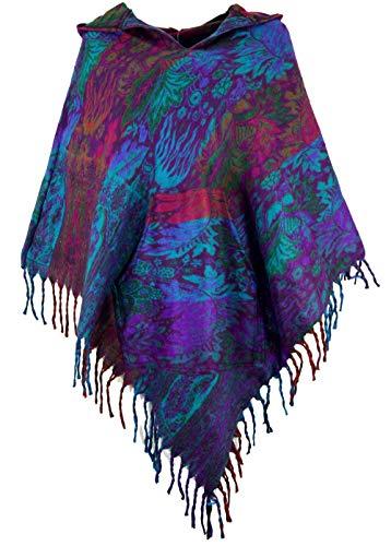 Guru-Shop Ethno, Hippie Poncho mit Langer Zipfelkapuze, Damen, Violett, Synthetisch, Size:40, Jacken, Mäntel & Ponchos Alternative Bekleidung