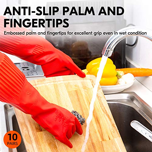 Product Image 4: Vgo 10-Pairs Dishwashing Gloves, Reusable Household Gloves, Kitchen Gloves, Long Sleeve, Thick Latex, Cleaning, Washing, Working, Painting, Gardening, Pet Care (Size L, Red, RB2143)