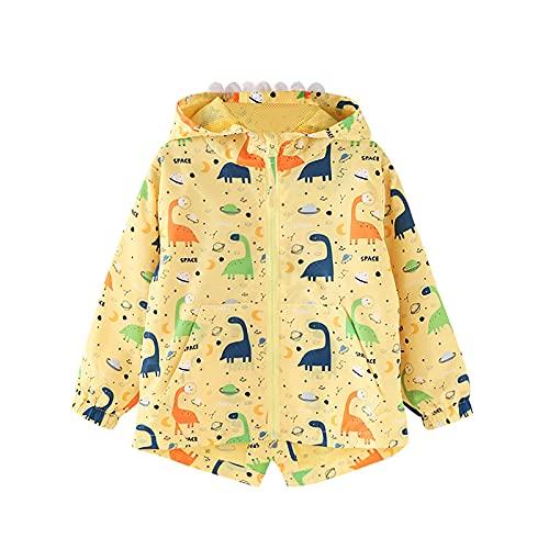 Hinzonek Chubasquero impermeable para niños y niñas, con capucha de dinosaurio, chaqueta cortavientos para viajes, deportes al aire libre durante 1-5 años (4-5 años, amarillo)