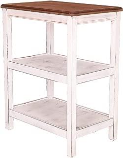 """GRAFZEAL Vintage Kitchen Utility Storage Shelf Baker's Rack Microwave Stand 3-Tier Shelf for Spice Rack Organizer 23.6""""L x 15.7""""W x 29.7""""H, Rustic Brown Top White Pine Finish ZWJ01WZ"""