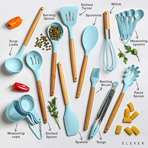 Kitchen Utensils Set - 20 Silicone Cooking Utensils With Wooden Handles