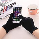 Guantes de Punto para Mujer Guantes Gruesos cálidos de Invierno con Pantalla táctil Manoplas sólidas para Tableta de teléfono móvil-Black