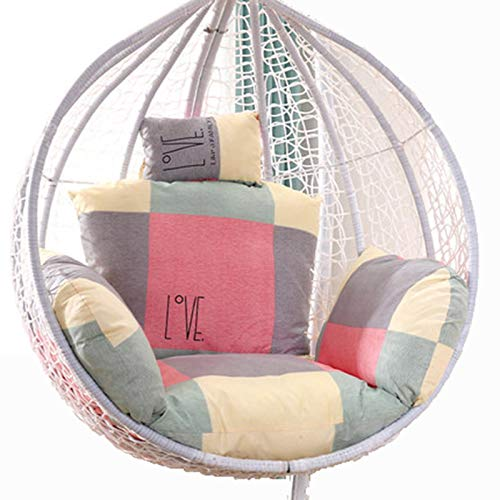 Egg Chair Cushion Only, Hanging Swing Chair Seat Cushion Replacement, Thicken Hanging Hammock Chair Cushion with Headrest and Armrests, Outdoor Garden Chair Pads Lattice