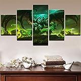ZDDBD Imágenes modulares, póster Impreso en HD, Juego de 5 Piezas, Pintura de Personajes de World of Warcraft, Arte de Pared, Sala de Estar, decoración del hogar
