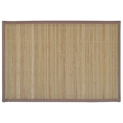 vidaXL Lot de 6 Napperons en Bambou pour Table 30 x 45 cm Brun Sets de Table