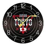 壁掛け時計 連続秒針 木製 レコード風 ジャパン 2020年東京オリンピック ウォールクロック 置き時計 静音 インテリア 見やすい 電池式 おしゃれ Wall Clock クロック 壁かけ時計 ホーム ベッドルーム キッチン プレゼント アナログ 部屋飾り