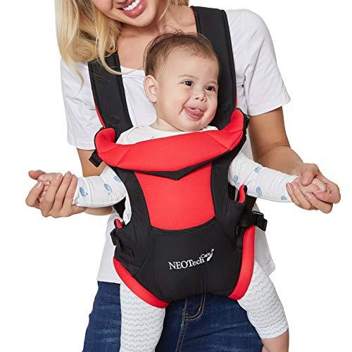 Neotech Care - Portabebés - Por delante y por detrás - Ajustable, transpirable y ligero - Para niños pequeños y bebés - Rojo