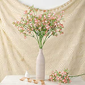 Efavormart 4 Pack – 27″ Babys Breath Artificial Flowers, Gypsophila Real Touch Silk Flowers Stem – Coral for DIY, Wedding, Party, Home, Floral Arrangement, Garden Decoration
